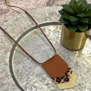 NEW Boutique Vegan Leather Fringe Necklace